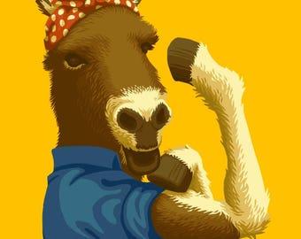 Rosie the Donkey - Democrat - Political - Lantern Press Artwork (Art Print - Multiple Sizes Available)