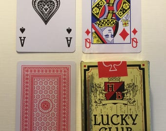 Lucky Club, Plastic coated, playing cards, red back.