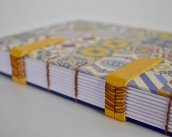 Handmade notebook with mosaic - Handbound notebook with leather bands -  Coptic stitch journal - Coptic notebook