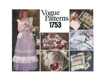 Women's Ruffled Apron, Pillows, Sachets, Lingerie Bag, Hanger Cover, Jewelry Tray Sewing Pattern Uncut Vintage Vogue 1753