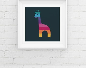 Giraffe Nursery Art Print, Animal Nursery Giclee Art Print, Baby Shower Gift, Nursery Decor