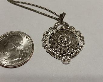 Vintage sterling silver marcasite necklace badr