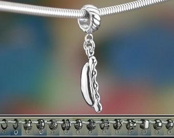 Sterling Silver Hot Dog Charm or European Style Bracelet Frankfurter