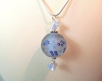 Necklace blue etched glass art lampwork bead with crystals