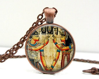Ancient Egyptian Necklace : Glass Picture Pendant Photo Pendant Handcrafted Jewelry  (1725)