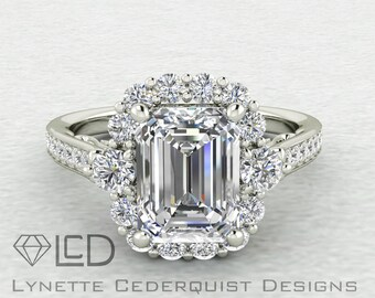 The Autumn 1.75 carat Emerald Cut Forever One Moissanite Halo Cathedral Style Engagement Wedding Ring