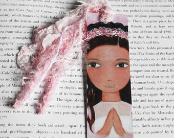 First Communion Girl  -  Hispanic - Latin - Laminated Bookmark  Handmade - Original Art by FLOR LARIOS