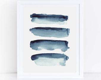 Indigo Print, Indigo Watercolor, Indigo Abstract Print, Blue Abstract Watercolor Print, Indigo Wall Art, Blue Watercolor Print, Abstract Art