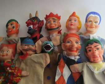 Vintage hand puppets, punch and judy hand puppets, rubberhead hand puppets