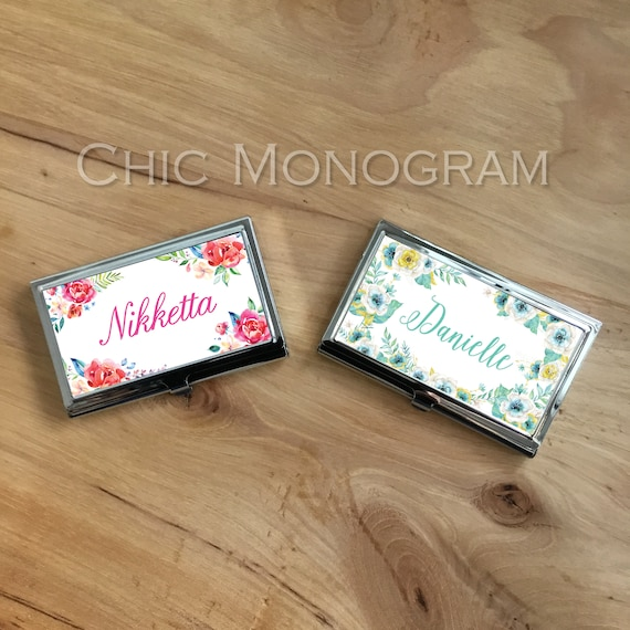 Personalized Business Card Case New Job Gift Classy Floral Design Custom Business Card Holder Promotional Items Business Name Monogram