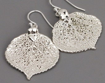 Leaf Earrings Sterling Silver Drop Earrings - Nature Jewelry - Dangle Earrings Silver - Leaf Jewelry - Outdoors Gift for Mom