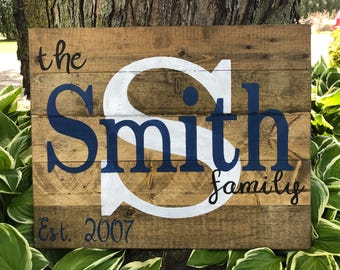 Custom Wood Name Sign, Personalized Wedding Gift, Pallet Last Name Sign, Rustic Family Est. Sign, Rustic last name Sign, farmhouse sign