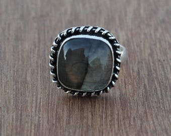 Natural Labradorite ring | Handmade labradorite ring | natural gemstone ring - fashion ring - easter jewelry - silver plated, Ring for her