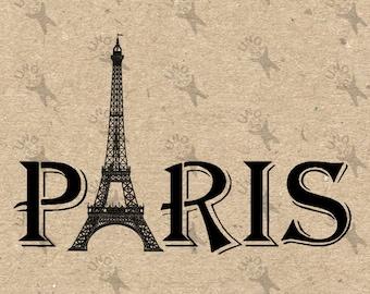 Vintage Paris Word Eiffel Tower Instant Download Digital printable clipart graphic - scrapbooking,decoupage,burlap,kraft, etc HQ 300dpi