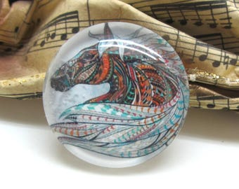 2 cabochons 14 mm glass horse Tribal 1-14 mm