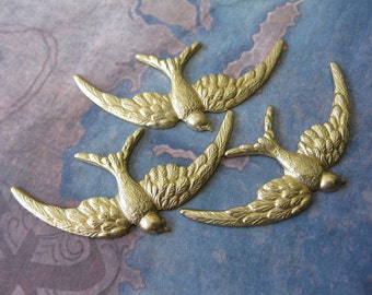 2 PC Raw Brass Flying Bird Stamping - NN15