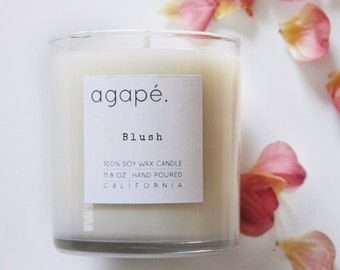 BLUSH • soy wax candle, natural candle, jasmine candle, white tea candle, soy wax, Agape Candles