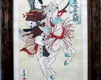 Japanese Woman Samurai Warrior Art Print from 1885 on Parchment Paper