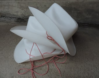 COWBOY HATS Hallmark Party Hats Set of 3 White Plastic Cowboy Hats Deadstock Hallmark Birthday Party Favors Supplies