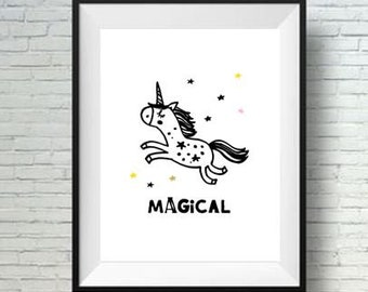 Magical Unicorn Baby room decor Printable Nursery Art Kids room wall decor INSTANT Digital print download