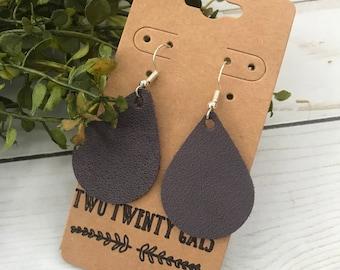 Genuine Leather Deep Purple Medium Teardrop Earrings
