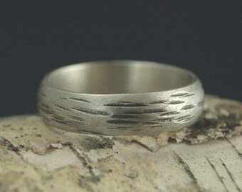 5mm Aspen Band~Silver Men's Band~Silver Bark Ring~Silver Bark Band~Silver Wedding Band~Silver Wedding Ring~Rustic Men's Band~Rustic Ring