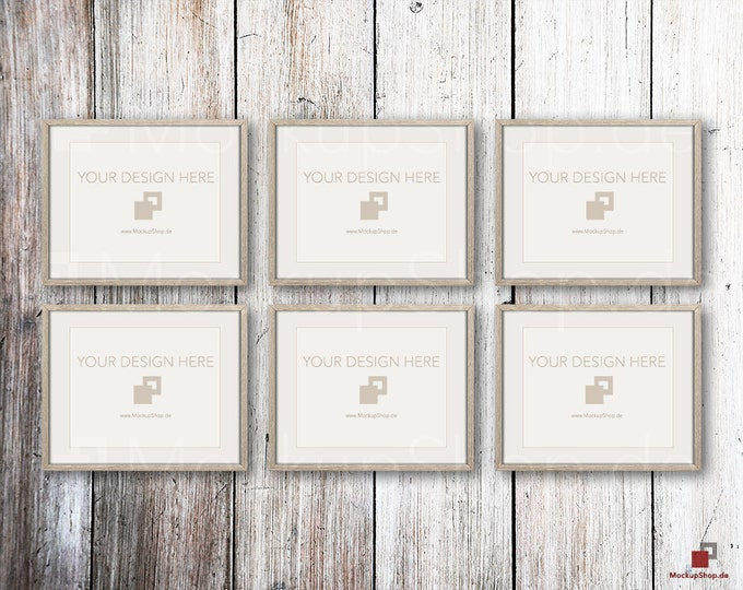 "FRAME MOCKUP BROWN, 8x10"", 6x ertical brown Mockup, picture frame mockup in brown on white vintage wood"
