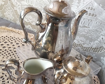 Rosenthal Selb - Bavaria, Germany - Pompadour style Silver Plated Overlay CHIPPENDALE 3pc Coffee Service Set