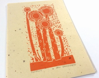 linocut - OUTPOST // 5x7 art print // printmaking // block print // nature art // sprouts // seedlings // weeds // original art // orange