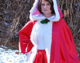 Mrs Claus Costume Cape, Waist Length