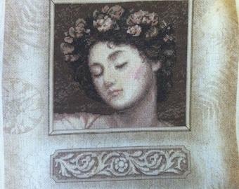 Unframed Cross Stitch on Printed Background