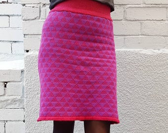 Knee Length Pencil Skirt Knitted in a Pink and Purple Geometric pattern in Cashmere/Wool Yarn - high waisted, workwear, winter, gift, midi