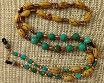 """EY1362 Eyeglass Holder, 30-1/2"""", Green Peruvian Opal, Natural Betel Nut Beads, Turquoise Oval beads, Copper coin and round beads"""