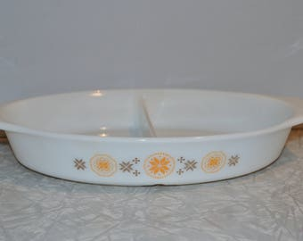 Pyrex Town & Country Divided Dish ~ Orange Pyrex