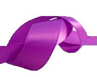 "5/8"" Violet Purple Satin Ribbon, Single Face Satin Ribbon, 1960's Vintage Sewing Millinery Supply"