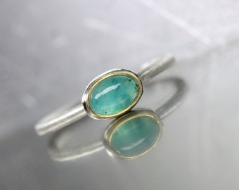 Small Chrysocolla Silver Gold Ring Natural Mint Aqua Green Included Gemstone 22k Yellow Bezel Delicate Brushed Band For Her - Secret Lagoon