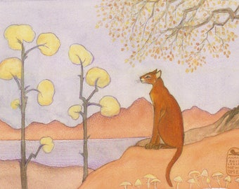 New Cat Art Print, red cat and trees