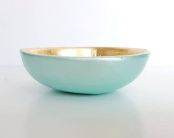 Mint green trinket dish, ring dish, Mint and gold, bridesmaid gift, jewellery dish, gifts for her, wedding gift, wedding present,