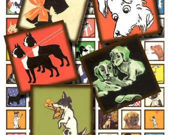 Vintage dogs, 1X1 inch digital download, printable collage sheet no. 196