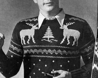 PATTERN 1940s Vintage Mens Reindeer Pullover Sweater PDF Pattern Christmas Sweater Holiday Jumper Retro Ugly Christmas Holiday Sweater Knit