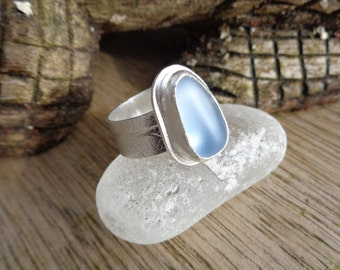 Violet sea glass ring , grey sea glass ring , handmade multi blue sea glass and sterling silver ring, UK size N or US  size 6 1/2