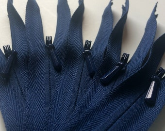 INVISIBLE Zippers- YKK Color 919 Navy Blue- 10 Pieces- Available in 9, 14, 16, 18, 20, 22  and 24 Inches