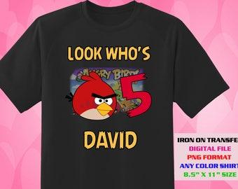 Angry Birds Iron On Transfer , Angry Birds DIY Boy Birthday Shirt , Angry Birds DIY Transfer , Angry Birds Printable , Digital Files