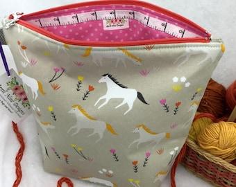 Pony Knitting Bag, Knitting Project Bag, Pony Crochet Bag, All Purpose Craft Bag, Utility Bag