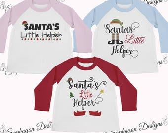Santa's Little Helper Shirts, Toddler T-Shirt, Larkwood Long Sleeve Baseball T-Shirt