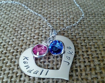 Personalized Heart Necklace With Kids Names,  925 Mom Necklace, Grandma Necklace, Personalized Couples Necklace, Stamped Necklace With Names
