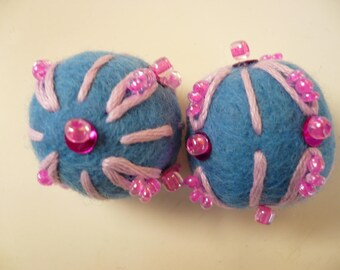 felted wool, embroidered, Blue Bead