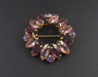 Purple Rhinestone Brooch, Purple Brooch, Circle Brooch, Round Brooch, Lavender Brooch