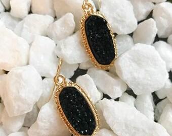 Drops of Druzy Earrings, Black