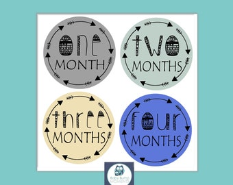 Milestone Stickers, First Year Stickers, Month Stickers Boy, Baby Boy Gift, Baby Month Stickers, Baby Shower Gift, Tribal Arrow, Blue Yellow